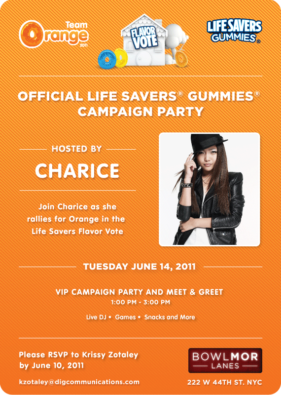 LifesaversInvite VIP Join Charice @Times Square NYC for Life Savers Gummies Official Orange Campaign Party